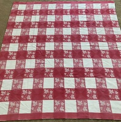 Vintage SIMTEX Salmon Pink Ivy Leaves Check Tablecloth AS IS