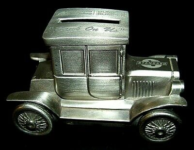 """Vintage Ford MODEL """"T"""" COUPE Sheridan Silver Plated Car Bank Coin Change Money"""