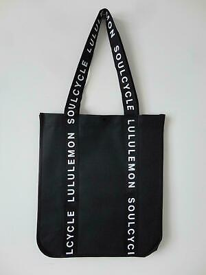 New LULULEMON SoulCycle Black Reflective Reusable Shopping Gym Lunch Bag Large