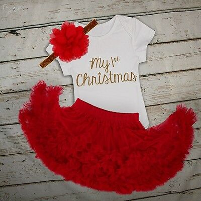 6M Christmas Infant Baby Girl Clothes Outfit Xmas Party  Romper Tutu Dress Set