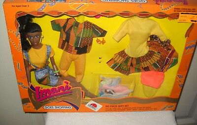 #9841 NRFB Vintage OLMEC Imani Goes Shopping African American Doll Giftset