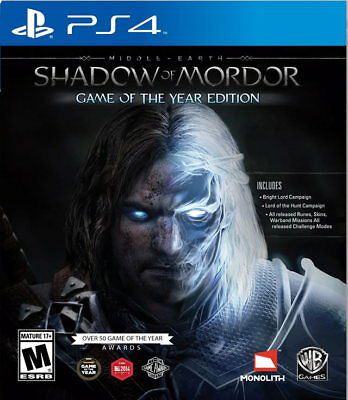 Middle Earth: Shadow of Mordor GOTY  PS4 New PlayStation 4, playstation_4