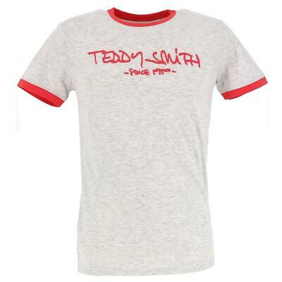 Tee shirt manches courtes Teddy smith Ticlass 3 wht mel/dkcoral Blanc 18163 - Ne