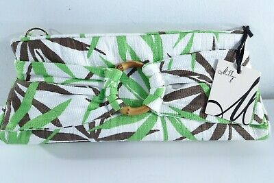 MILLY Women's Canvas Palm Print Bamboo Ring Clutch Purse NWT 298 Green Brown