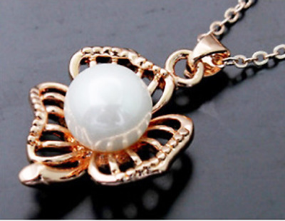 Fashion Womens Flower Pearl Rhinestone Gold Chain Pendant Necklace Jewelry NEW