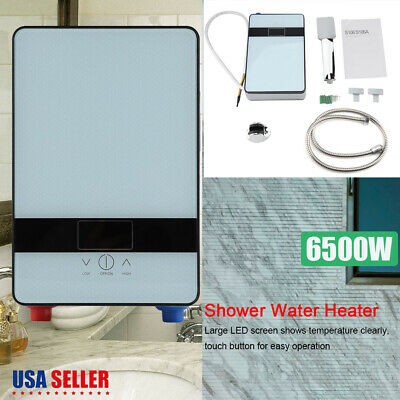 6500W Tankless Instant Electric Hot Water Heater + Shower Head Set for Bathroom