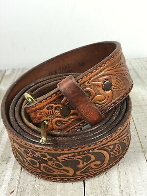 "Vintage Leather Tooled Belt tex tan 48"" brass buckle"
