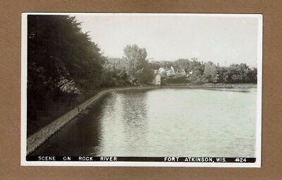 RPPC Fort Atkinson,WI Wisconsin, Scene on Rock River nice view buildings at end