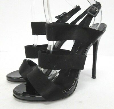 0c927de27ea60 Giuseppe Zanotti Three-Band Satin & Velvet Sandal in Black Size: 37.5 EUR