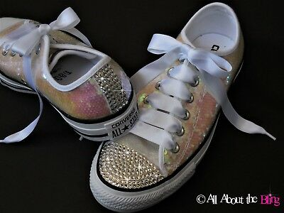 5e2fa4e2c Converse All Star WHITE sequin with Swarovski Crystals Rhinestone Bride sz 8