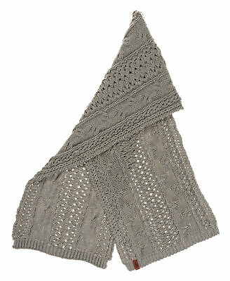 New Womens Superdry Unique Sample North Cable Scarf Grey Sparkle