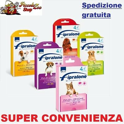 Fipralone spot-on 4 pipette antiparassitario gatto cane 2-10/10-20/20-40/40-60kg
