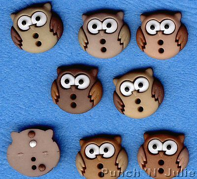 SEW CUTE OWLS - Bird Barn Tawny Brown Novelty Dress It Up Sewing Craft Buttons