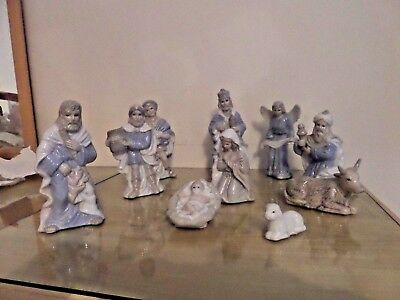 Wesley Owen Beautiful Nativity / Holy Family 10 Piece China Christmas Ornaments