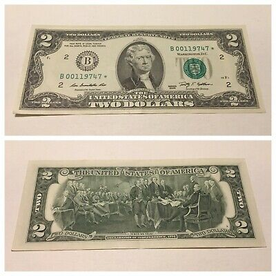 Vintage $2 Rare 2009 B-Star Two Dollar Federal Reserve Note Bill Green Seal Vnc