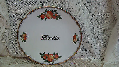 Vintage Florida Souvenir Plate Orange Blossoms Decor Tropical Oranges GOLD TRIM