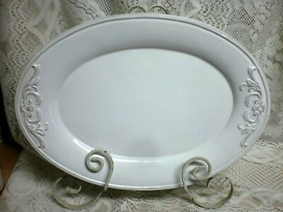 White Ceramic Country  French Scroll Oval  Platter  15 3/4'' By 11 1/4'' Nice