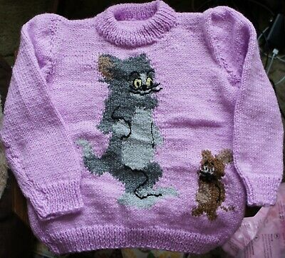 """Hand-Knitted Lilac Tom And Jerry Jumper Child Size 1-2 Years 22"""""""