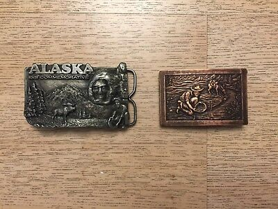 Belt Buckle Lot of 2 Heavy Solid Brass Pewter Alaska Limited Edition vtg 2775