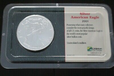 2001 Silver American Eagle Dollar Uncirculated Sealed in Littleton Packaging