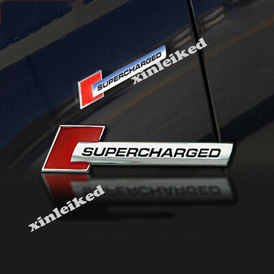 2PCS OEM RED Supercharged Badge Emblem Decal for A3-6 Q-7 S4