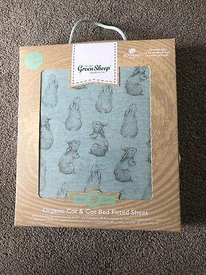 The Little Green Sheep Cot Bed Organic Cot & Coy Bed Fitted Sheet Rabbit Print