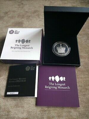 Royal Mint : The Longest Reigning Monarch 2015 UK £5 Silver Proof PIEDFORT + COA
