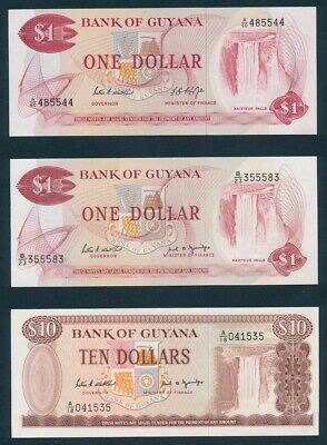 "Guyana: 1966-92 $1, $5 & $10 ""COLLECTION OF 6 DIFFERENT"". P21d-23d UNC Cat $30"