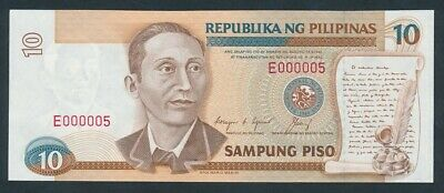 "Philippines: 1992 10 Piso RARE LOW SERIAL NUMBER ""E 000005"". Pick 169d"