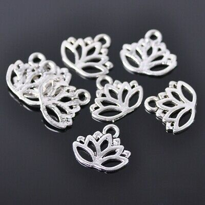 20pcs 14x16mm Leaf Tibetan Silver Metal Bail Connector Pendant Jewelry Findings