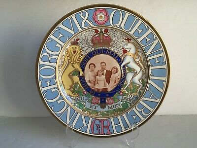 SPODE 1937 King George VI Queen Elizabeth Family Portrait Coronation CHARGER 12""