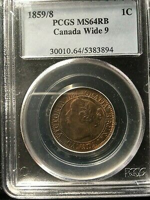 **1859 Wide 9/8**PCGS Graded Canadian, Large One Cent, **MS-64**