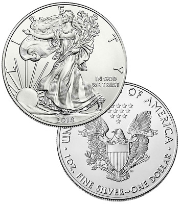 One 2019 1oz American Silver Eagles Direct From Mint Box (19sef)