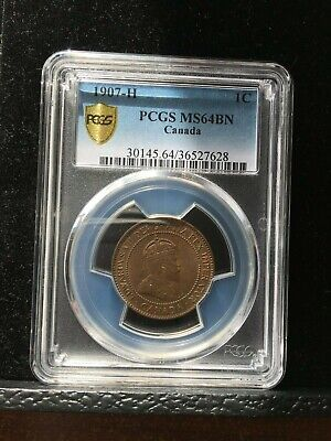 **1907H**PCGS Graded Canadian, Large One Cent, **MS-64**