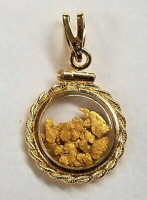 14k Yellow Gold With 24k Flakes Pendant 16mm