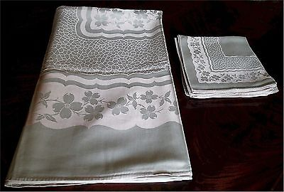 Lovely Vintage Damask Tablecloth 12 Napkins Set Pink and Gray Blossoms 98x61
