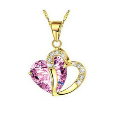 Fashion Womens Heart Pink Crystal Rhinestone Gold Chain Pendant Necklace NEW