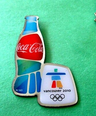 Coca-Cola Bottle Beside Vancouver Olympic Inukshuk Logo Canada Pin 2010