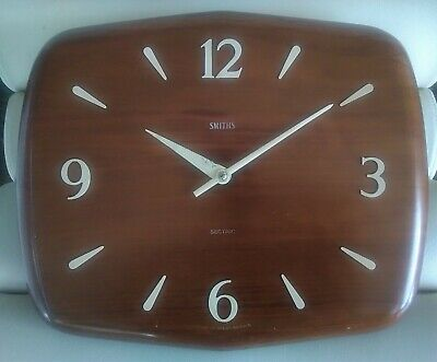 1950s Vintage Smiths 'Goodwood' Sectric Wall Clock Mid Century Modernist Teak