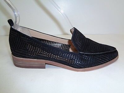 a8aed987f12 Vince Camuto Size 6 M KADE Black Perforated Suede Loafers New Womens Shoes