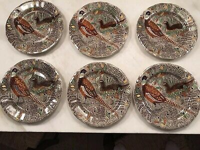 """Old French Gien Rambouillet Hand Painted Dinner Plate 10,25"""" Pheasants"""