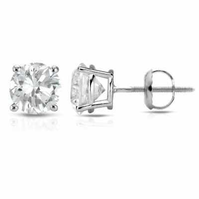 14K White Gold Round 1/4ct to 1ct Diamond Solitaire Stud Earrings by Auriya