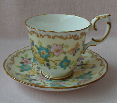 Crown Staffordshire England Fine Bone China Cup + Saucer Flowers Butterfly Bird