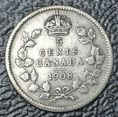 OLD CANADIAN COIN 1908 - 5 CENTS - .925 SILVER - Edward VII - Nice