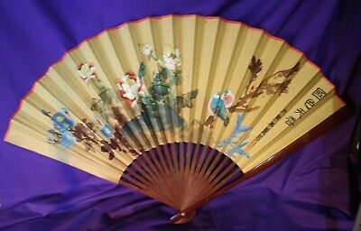 "Chinese Painted Fan 36x22"" paper on bamboo flowers & birds"