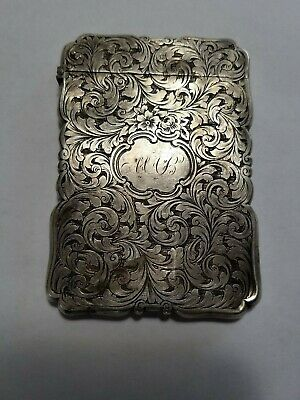 Antique 1850 Sterling Silver Calling Card Case By Nathaniel Mills NO Reserve