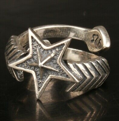 Chinese Silver Handmade Carving Pentagram Ring Jewelry Gift Collection