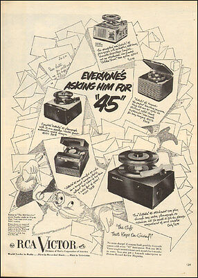 1950 Vintage ad for RCA Victor Retro Record players Art Christmas  083017