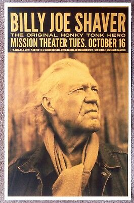 BILLY JOE SHAVER 2012 Gig POSTER Portland Oregon Concert