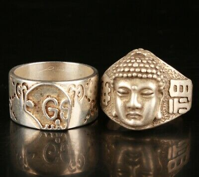 2 Exquisite Chinese Tibetan Silver Hand Carving Buddhist Ring Jewelry